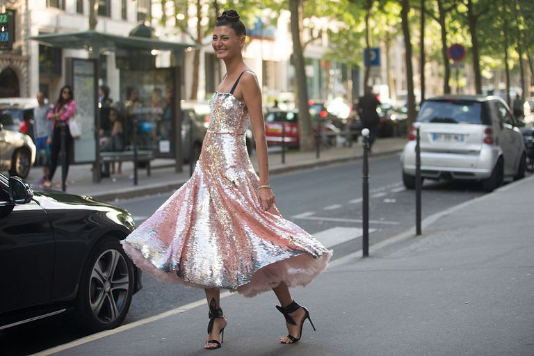 Giovanna Battaglia wears a pink Valentino couture dress after the Valentino show at Hotel Salomon de Rothschild