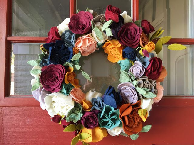 DIY Fall Wreath with Felt Flowers
