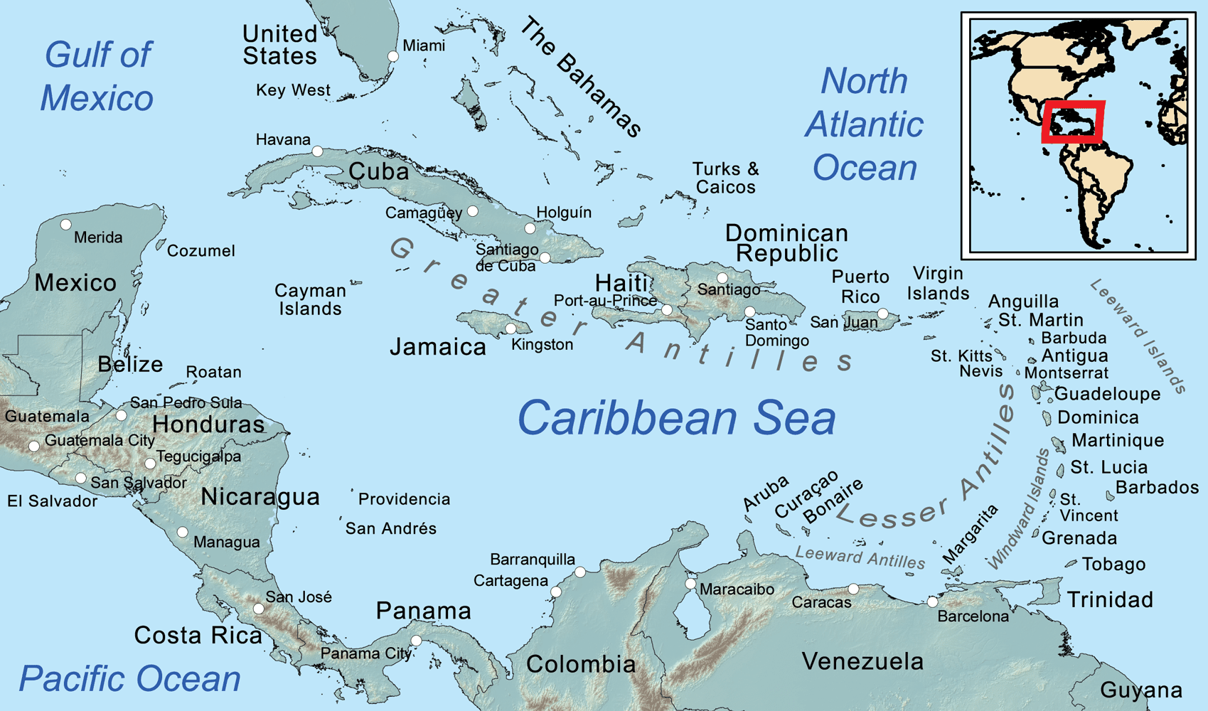 Comprehensive Map of the Caribbean Sea and Islands