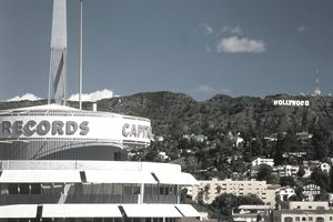 USA, California, Los Angeles, Capitol Records and Hollywood sign