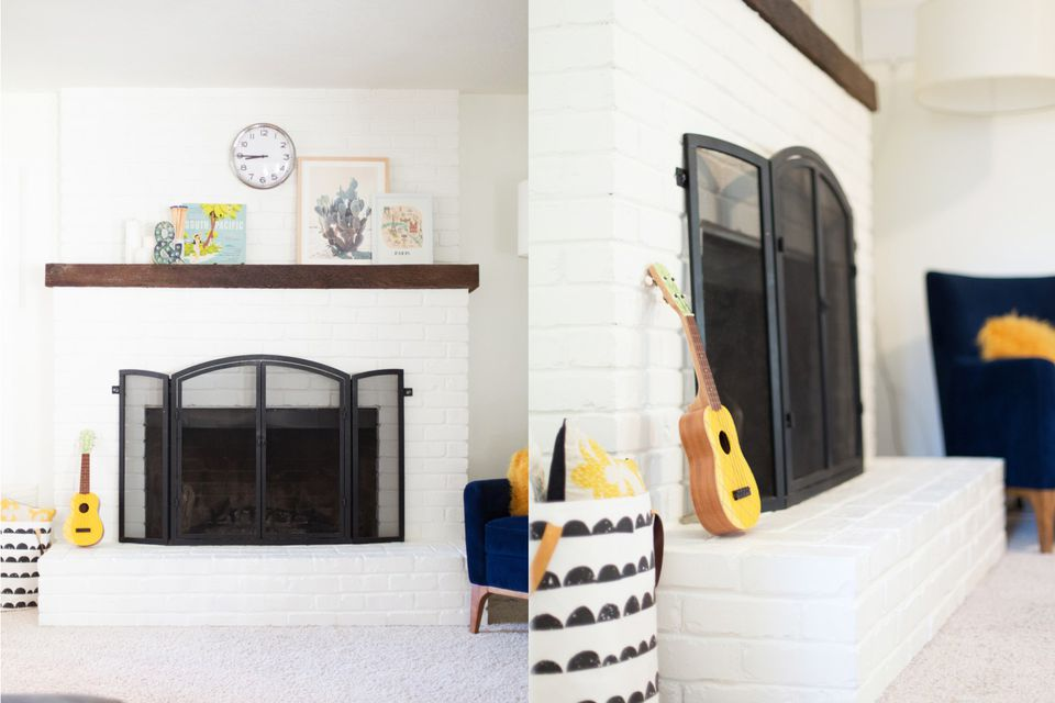 Painted White Brick Fireplace Tutorial