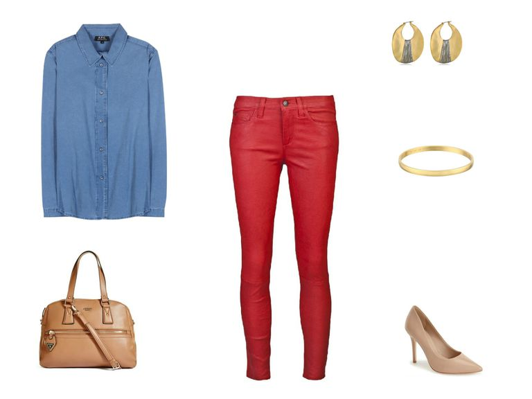 Chambray shirt and red jeans outfit