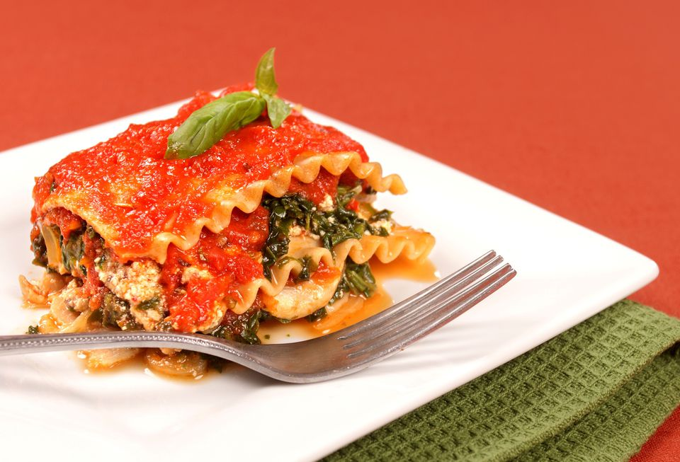 Vegan lasagna with spinach and eggplant