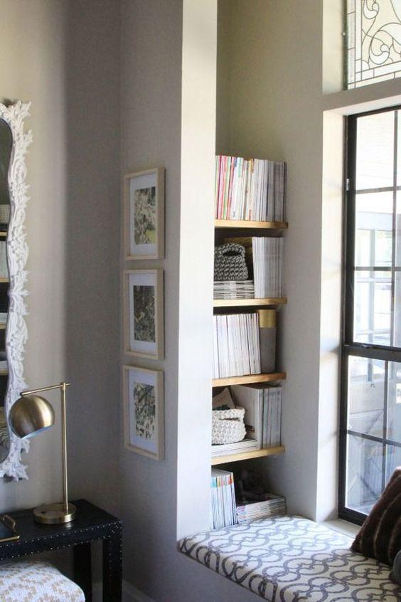 window seat with book storage