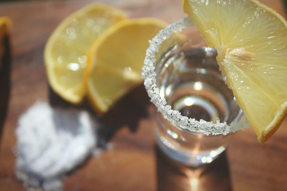 Close-up of a lemon drop shot