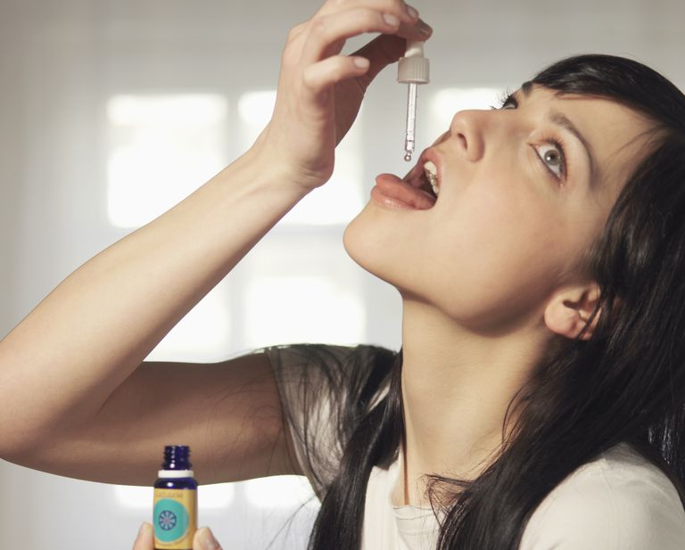 Girl Dosing Self with Tincture Drops