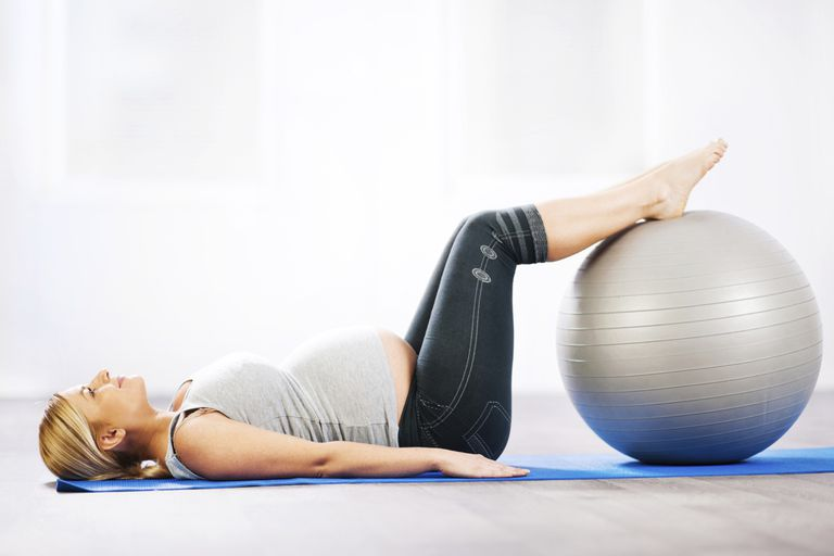 Hip opening with an exercise ball.