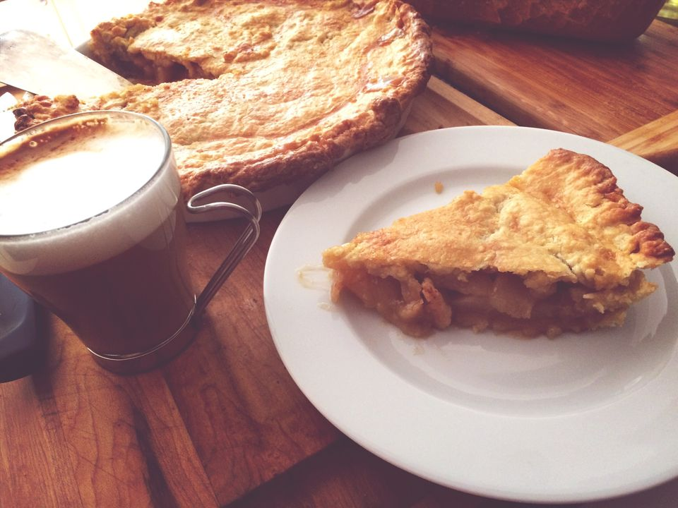 Slice Of Apple Pie And Cup Of Coffee
