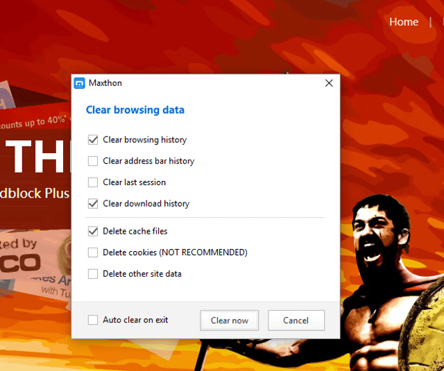 maxthon clear private data