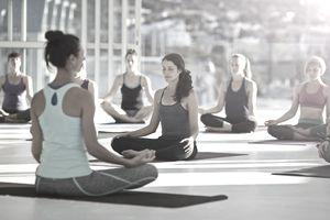 Large group meditating at yoga practice