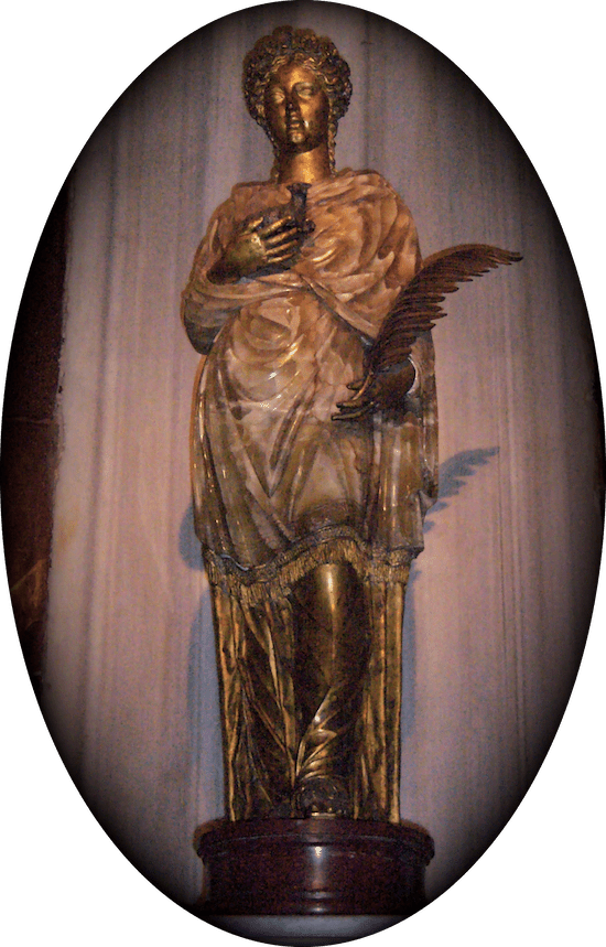 Statue of St. Agnes in the Basilica of St. Agnes Outside the Walls, Rome. (Photo © Scott P. Richert)