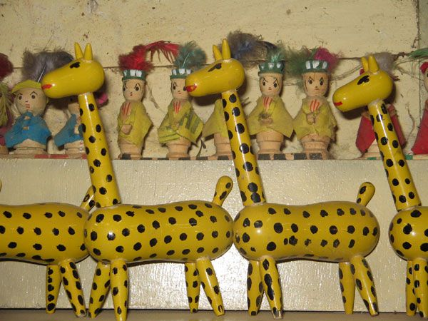 Wooden toy giraffes from India