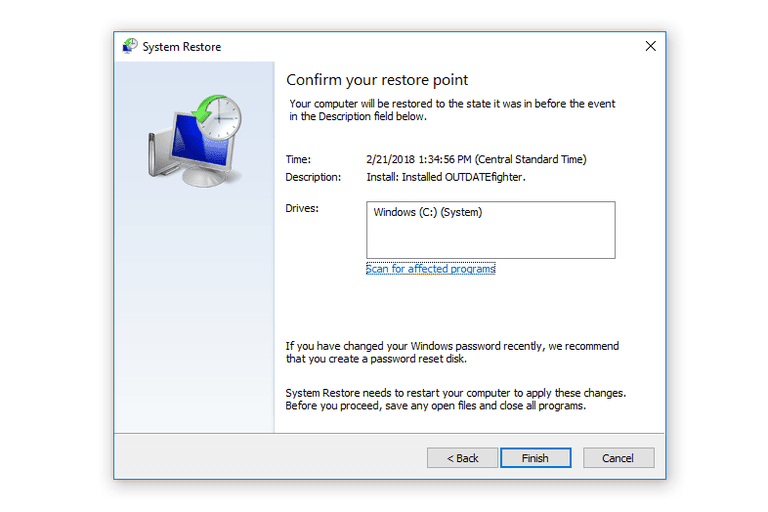 Screenshot of the Confirm Your Restore Point Screen in System Restore in Windows 10