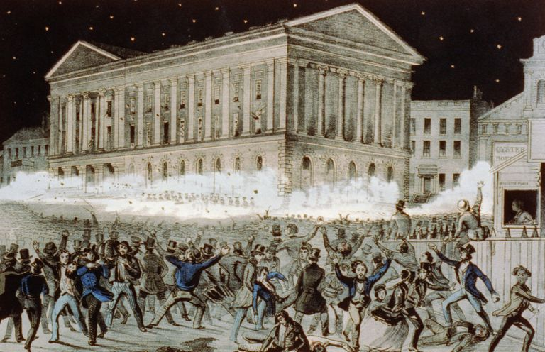 Lithograph showing the Astor Place Riot of 1849 in New York City