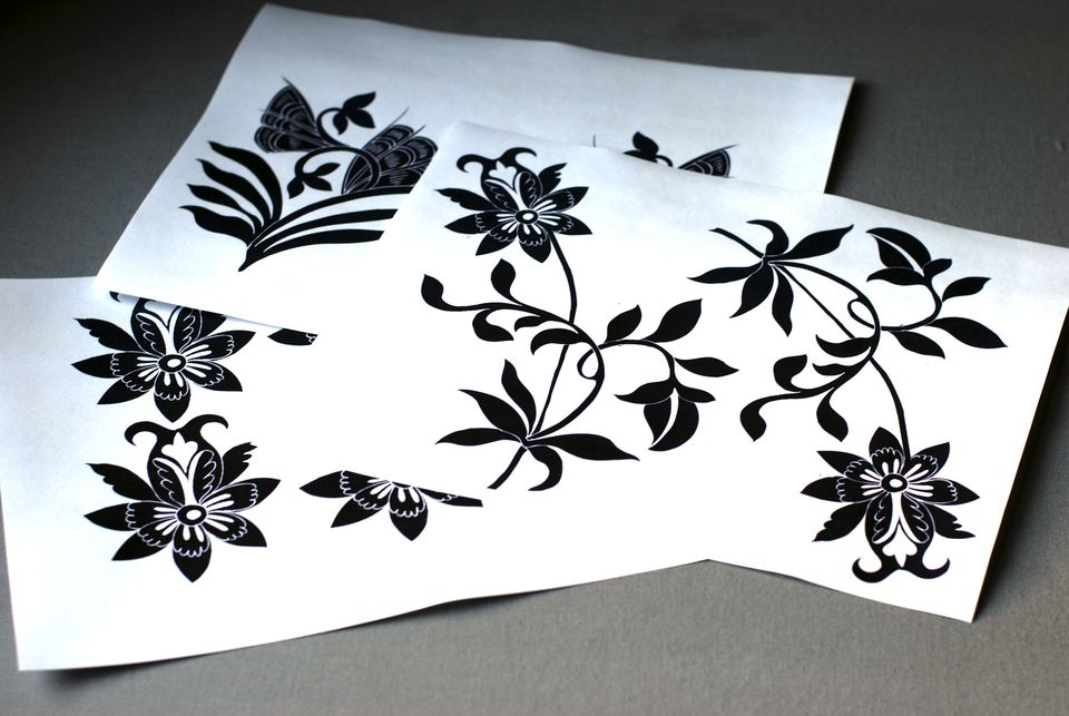 decoupage chinese floral prints