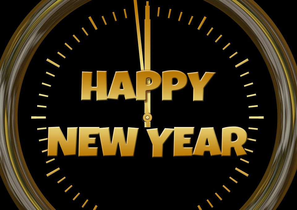 New Year's Eve clock, midnight