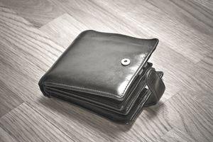 Wallet on a wooden floor