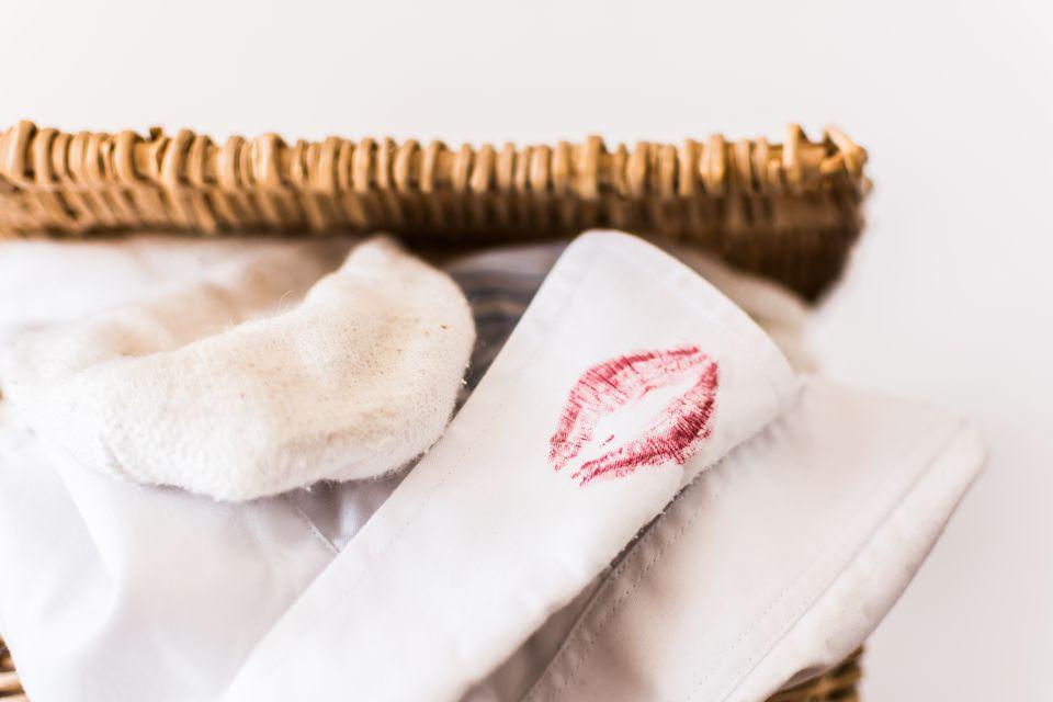 White shirt with lipstick imprint