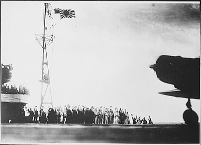 A captured Japanese photograph taken aboard a Japanese carrier before the attack on Pearl Harbor.