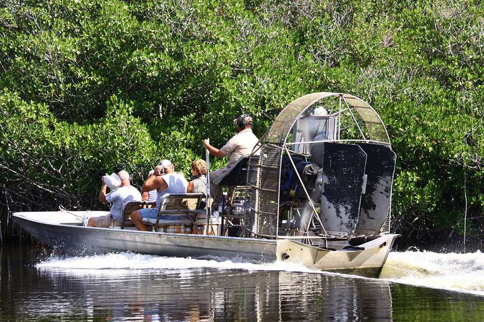 Airboat on the move in the Everglades National Park, Florida, United States, North America
