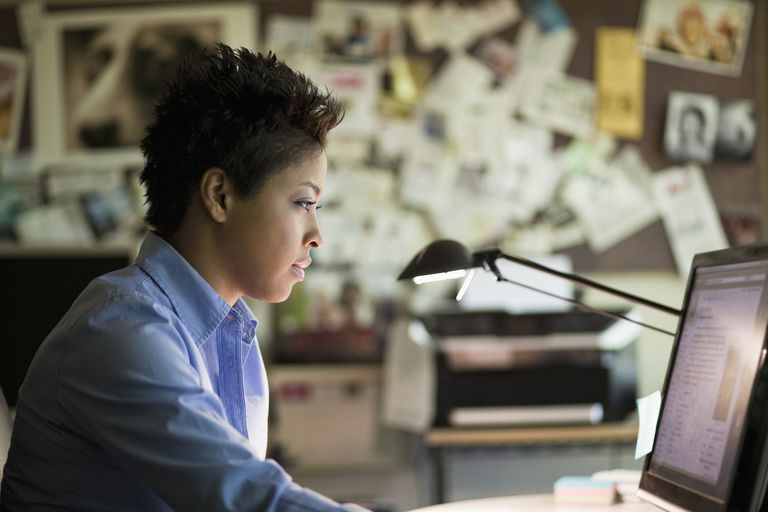 Black woman using computer