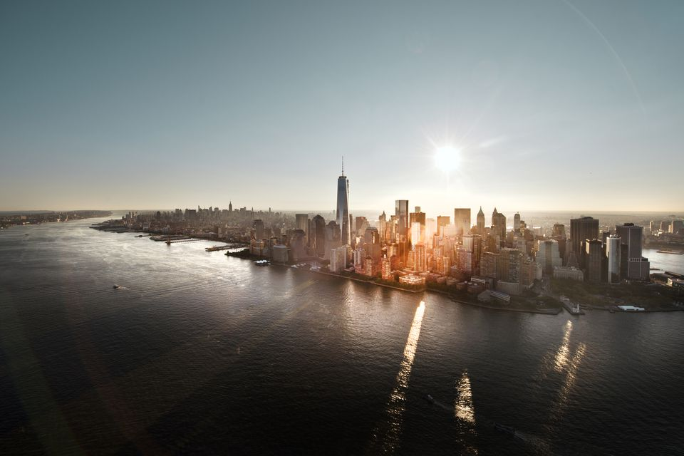 Aerial of Manhattan, NYC at sunrise