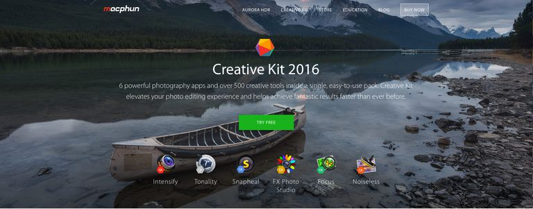 The Macphun Creative Kit home page is shown.