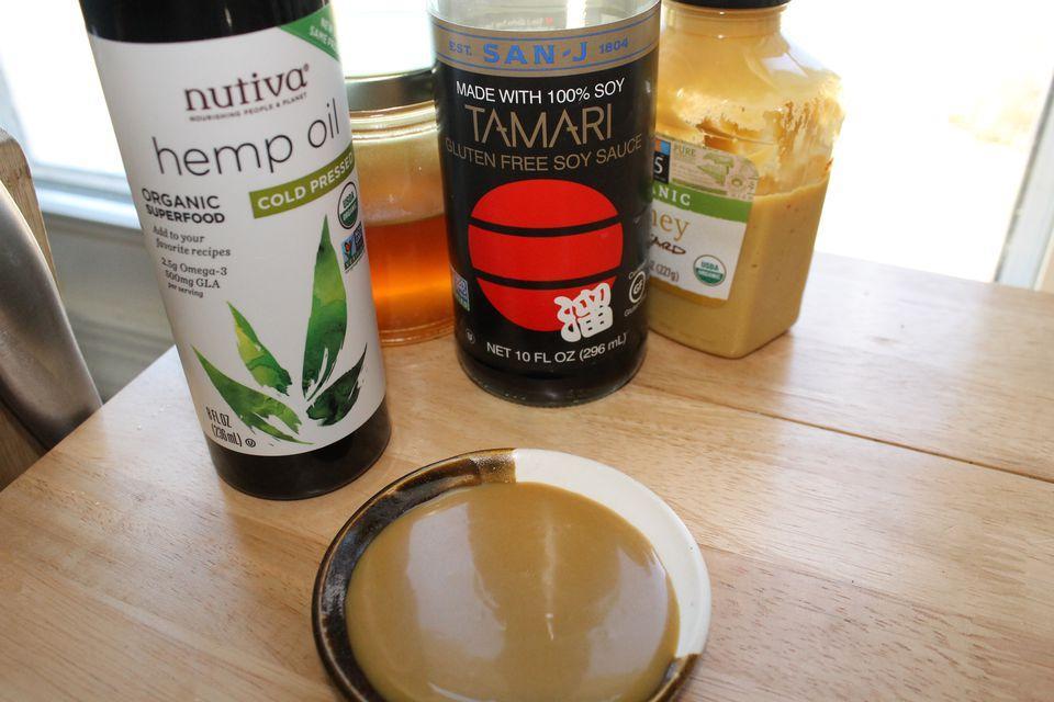 Hemp oil honey mustard salad dressing made from hemp oil, honey, tamari and mustard