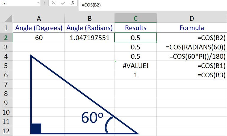 Find the Cosine of an Angle in Excel with the COS Function
