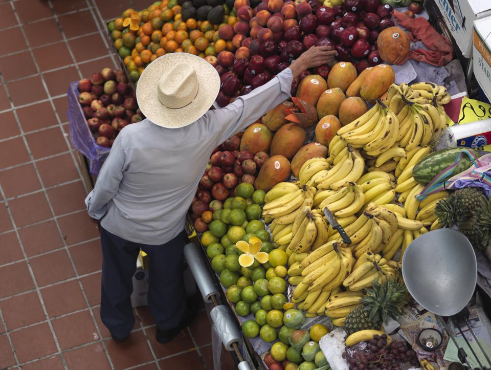 Buying fruit at the market