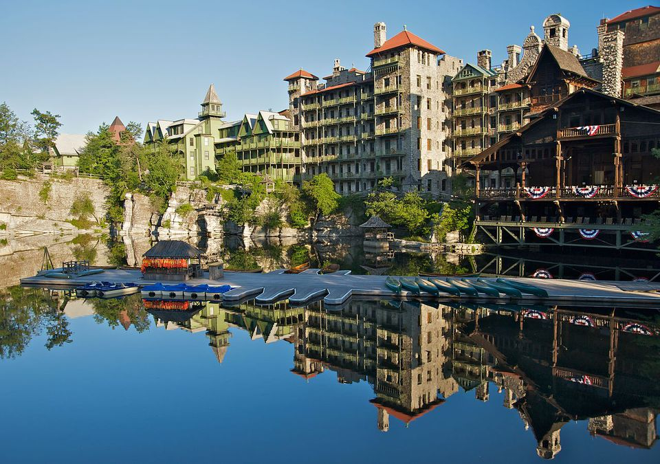 View of the boat dock against guest rooms at Mohonk Mountain House