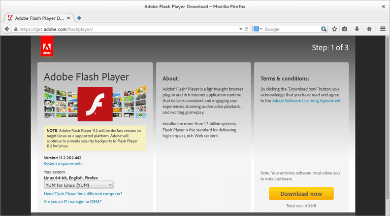 Install Flash In Fedora Linux