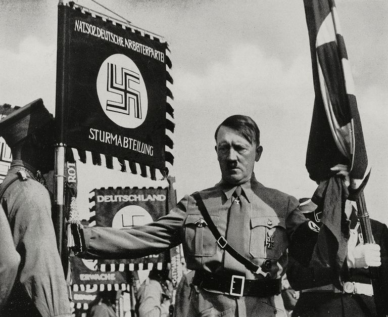 Adolf Hitler in Nuremberg during the Rally of Greater Germany (Reichsparteitag Grossdeutschland), Germany, from LIllustrazione Italiana, Year LXV, No 38, September 18, 1938.
