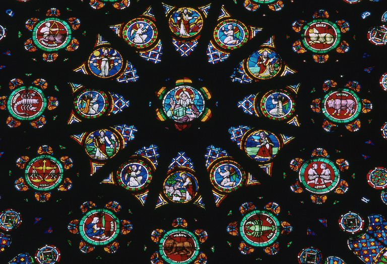 Detail from the Rose Window at St Denis in France, showing the signs of the Zodiac, 12th century