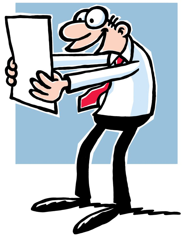 A cartoon drawing of a man dressed in a shirt and tie holding out a piece of paper in front of him