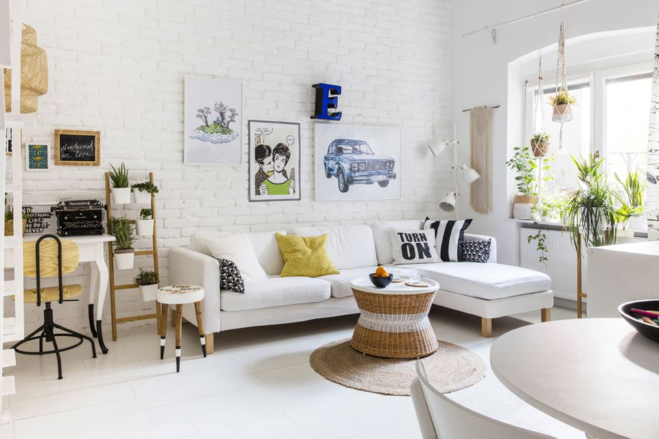 living room desing. White room with white furniture and house plants 17 Beautiful Small Living Rooms That Work