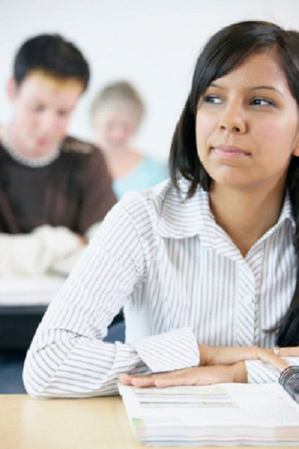 Female student in a classroom