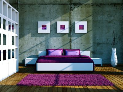 Use Architectural Elements As Decoration Modern Bedroom With Purple Bedding And Rug