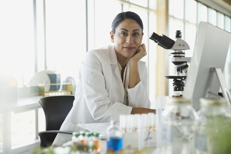 Researcher working in lab