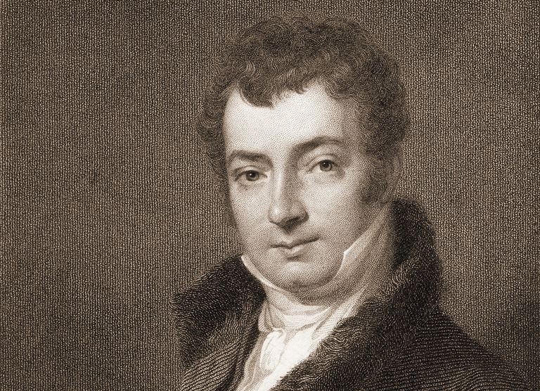 Engraved portrait of author Washington Irving