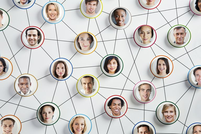 images of faces connected to represent network marketing