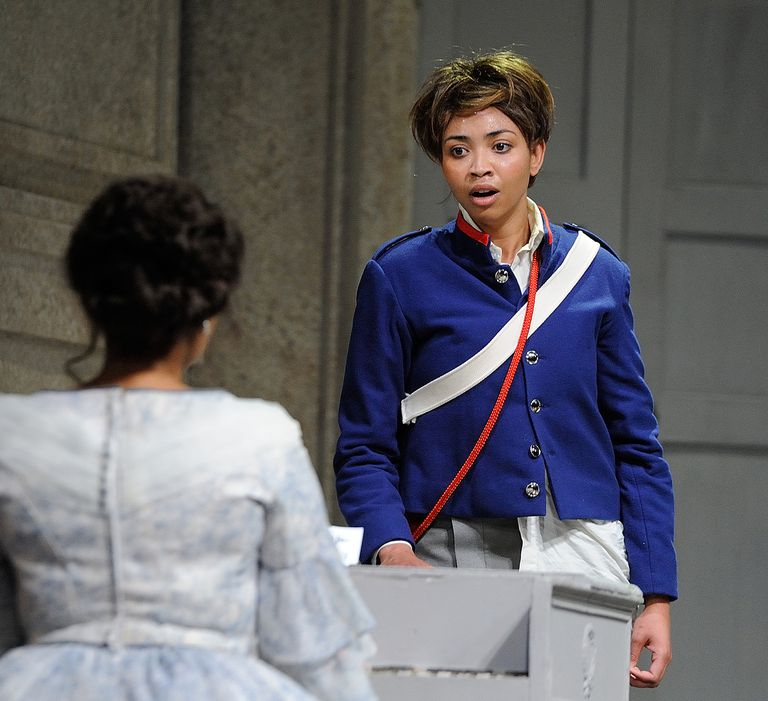 Lynelle Kenned as Cherubino performs in Mozart's opera, Le Nozze di Figaro (The Marriage of Figaro) at the Cape Town Opera on October 16,2014 in Cape Town, South Africa.