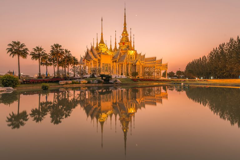 Beautiful temple in Thailand at twilight