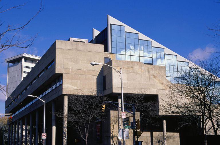Gund Hall designed by John Andrews, 1972, at Harvard near Boston, Massachusetts