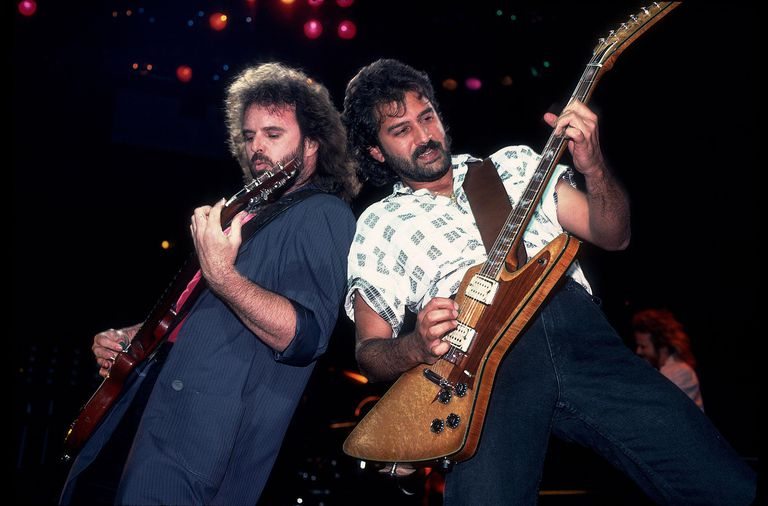 American rock band .38 Special performs live in Chicago, Illinois back in July 1986. Pictured are, from left, group members Larry Junstrom and Don Barnes.