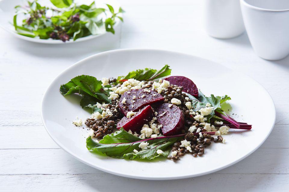 Lentil, beetroot and feta salad