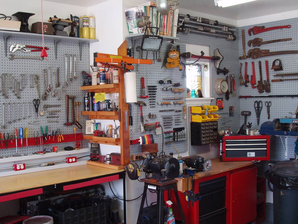 organized tools in garage