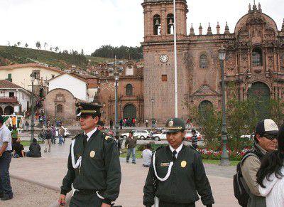 Peruvian tourist police on patrol in Cusco