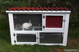 A red and white rabbit hutch