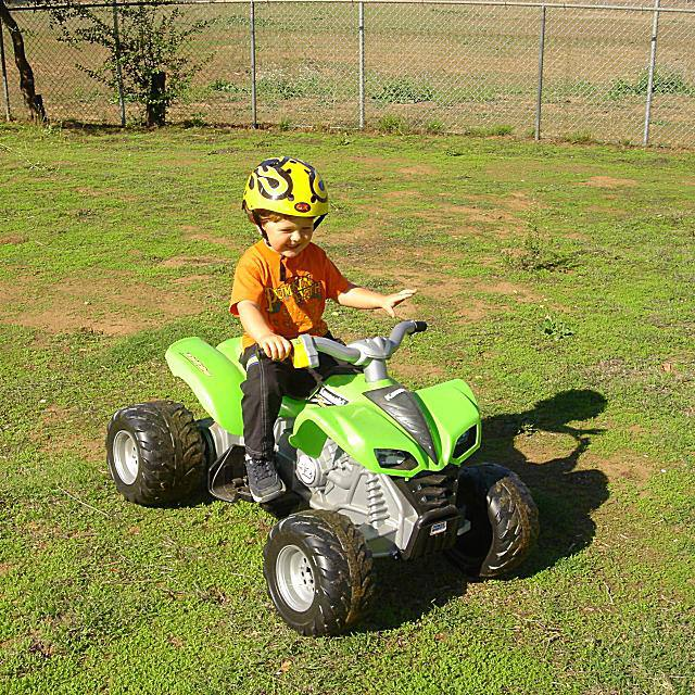 3 Year Old Riding an Electric Quad